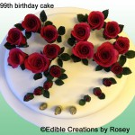 Deep pink sugar paste 99th birthday cake