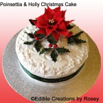Christmas cake - with sugarpaste Poinsettia and holly