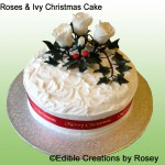 Christmas cake - with sugarpaste roses & ivy