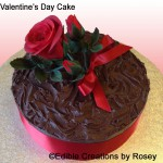 Valentine's Day cake with red sugar paste rose